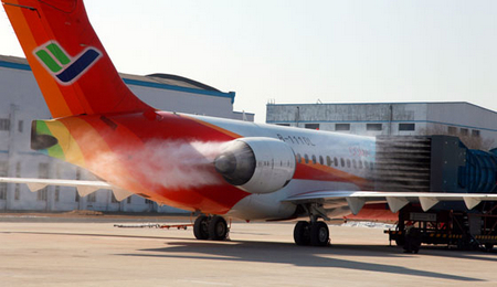 arj21飞机进行发动机风扇冰脱落研发试验