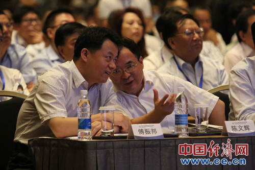 团中央书记处书记傅振邦和保监会副主席陈文辉进行交流